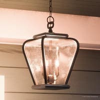 """Luxury French Country Outdoor Pendant Light, 15.5""""H x 9.5""""W, with Mediterranean Style, Soft and Simple Design, Black Silk Finish"""