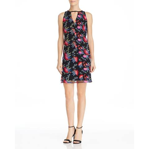 Sam Edelman Womens Shift Dress Floral Halter - Red/Black