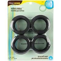"""Matte Black - Curtain Grommets 1-9/16"""" Inner Diameter Plastic 8/Pkg"""