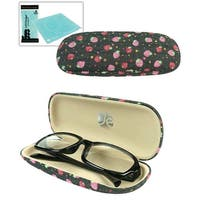 JAVOedge Strawberry Pattern Fabric Eyeglass Clam Shell Style Case with Bonus Microfiber Glass Cleaning Cloth