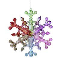 "5"" Iridescent Rainbow Snowflake Christmas Ornament - Multi"