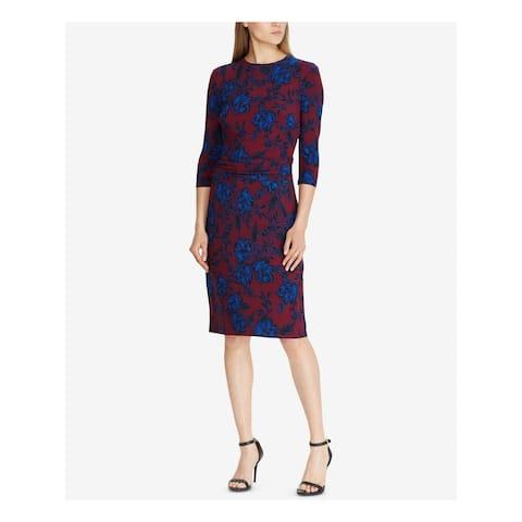 RALPH LAUREN Maroon 3/4 Sleeve Knee Length Sheath Dress Size 2