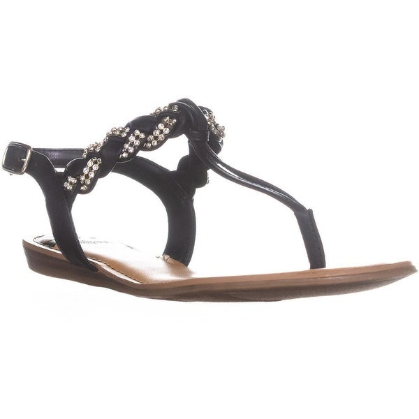 Fergalicious Shelly Braided Flat Sandals, Black - 8 us / 38 eu
