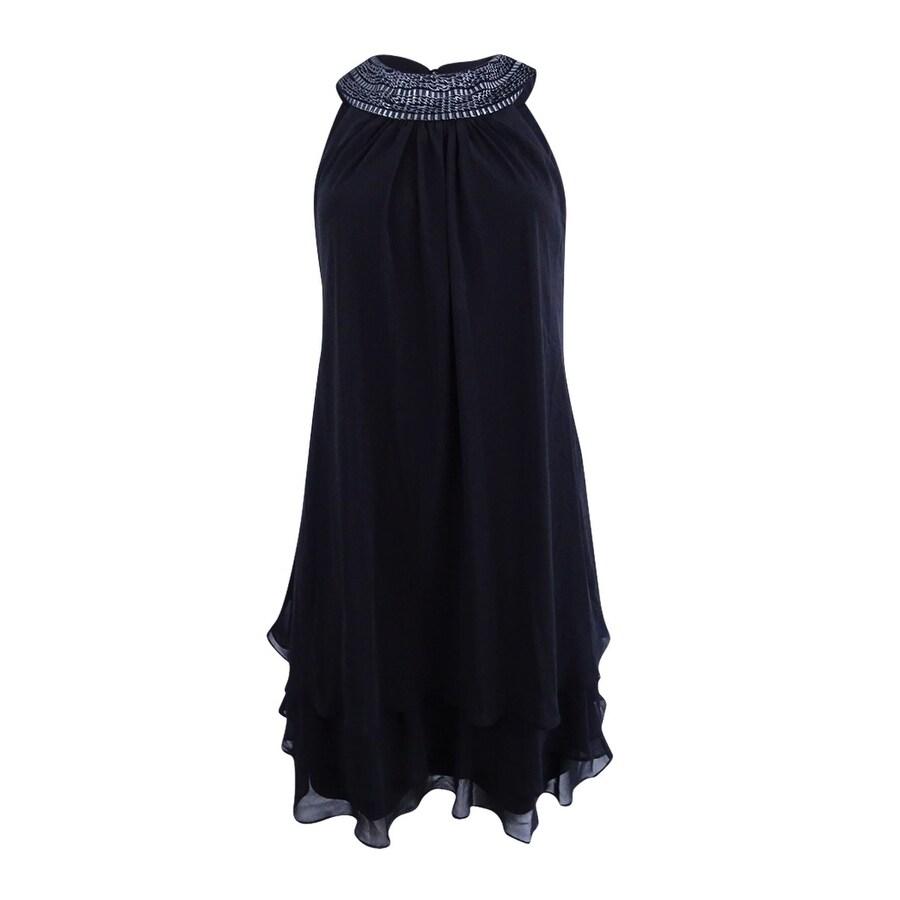 SL Fashions Womens Chiffon Halter Tiered Shift Dress by  2020 Sale