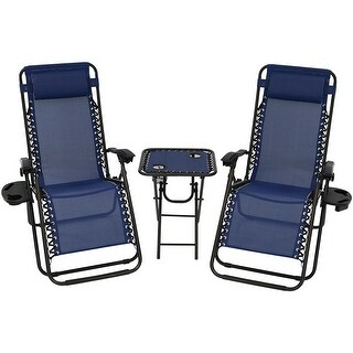 Sunnydaze Zero Gravity Furniture, Choose 2 Chairs and 1 Side Table or Side Table ONLY (More options available)