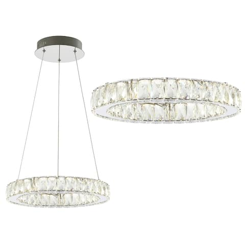 "Reese 15.7"" Integrated LED Metal/Crystal Pendant, Chrome by JONATHAN Y"