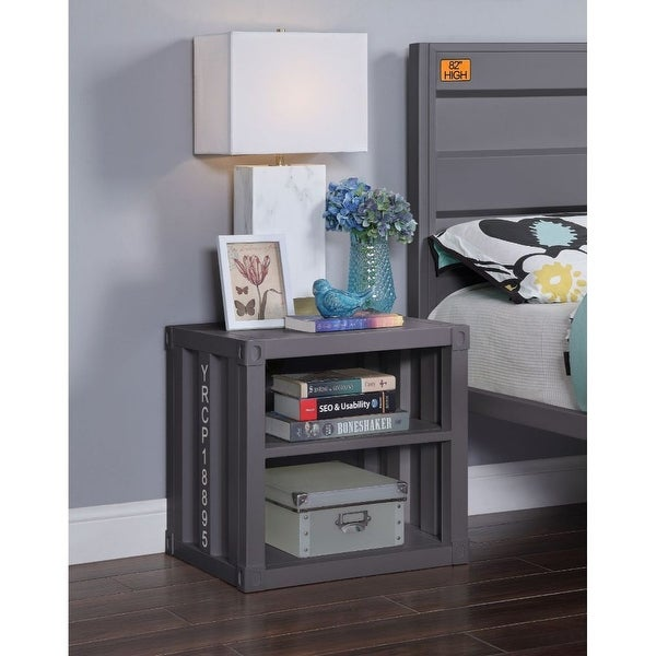 """Q-Max 20""""H Nightstand With TWO Open Shelves -Gunmetal. Opens flyout."""