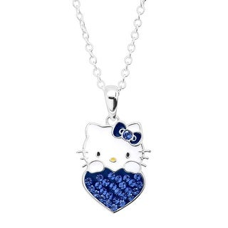 Girl's Hello Kitty September Heart Pendant with Crystals in Sterling Silver-Plated Brass