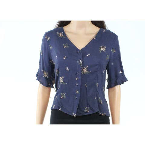 Elodie Womens Top Medium Knit V-Neck Lace-Up-Back Floral
