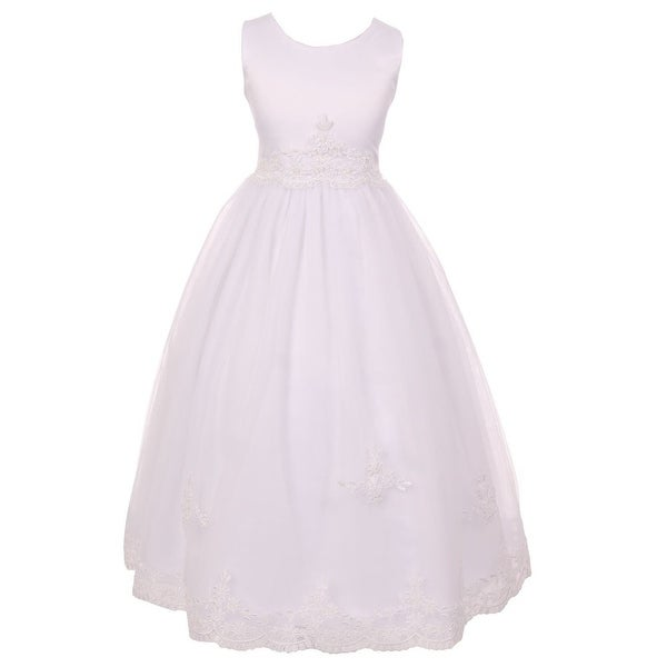 94966dd79d5 Shop Chic Baby Little Girls White Floral Lace Soft Tulle Flower Girl Dress  4-6 - Free Shipping On Orders Over  45 - Overstock.com - 18164322