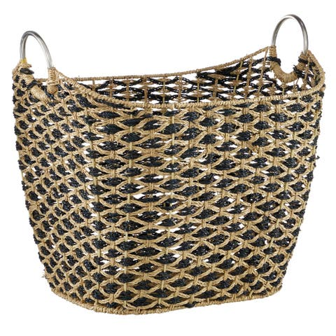 Large Seagrass Basket with Black Diamonds - 21 x 18 x 18