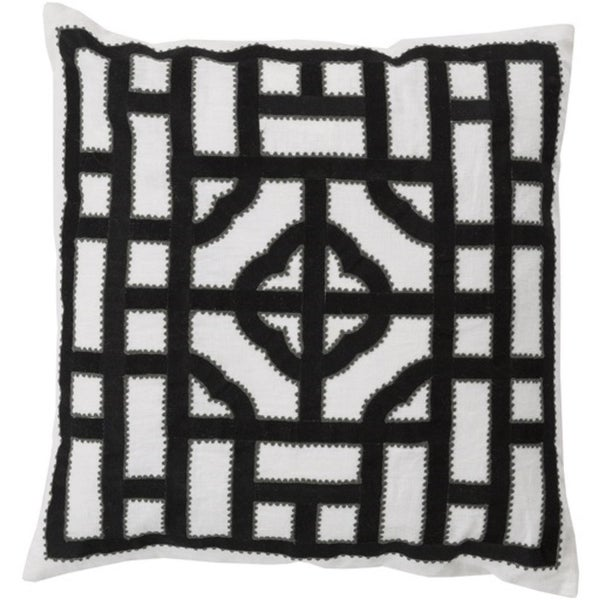 """18"""" Ivory, Charcoal and Ash Gray Chinese Gate Decorative Linen Throw Pillow"""