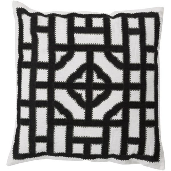 "22"" Ivory, Charcoal and Ash Gray Chinese Gate Decorative Linen Throw Pillow - Down Filler"