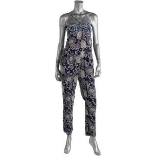 Zara Basic Womens Floral Print Spaghetti Straps Jumpsuit