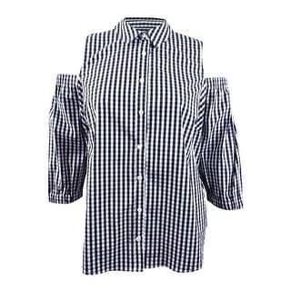 Charter Club Women's Plus Cold-Shoulder Gingham-Print Shirt - Deep Black