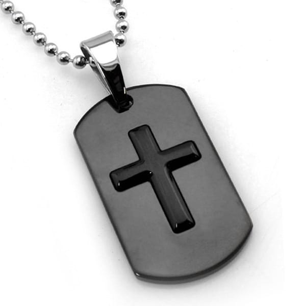 Black Stainless Steel Cross Dog Tag - 24 inches