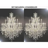 Set of 2 - Maria Theresa Swarovski Elements Crystal Trimmed Chandelier Lighting Chandeliers - Silver