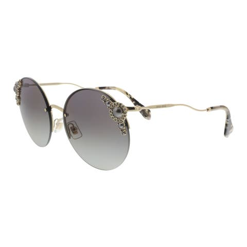 1c528903f19fa Miu Miu MU 52TS WO43M1 Core Collection Pale Gold Round Sunglasses - 60-18-