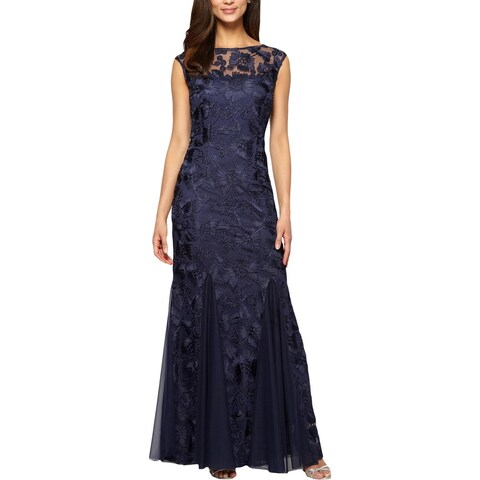 Alex Evenings Womens Petites Evening Dress Embroidered Mesh Inset