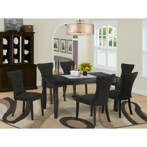 DUGA7-BLK-24 7-Piece Kitchen Table Set- 6 Parson Dining Room Chairs and Small Table-High Back & Black Finish