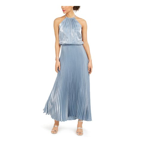MSK Womens Blue Sleeveless Maxi Knife Pleated Evening Dress Size 8