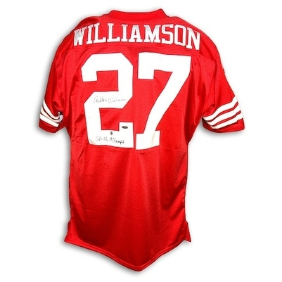 release date: 0e681 8e017 Autographed Carlton Williamson San Francisco 49ers Throwback Red Jersey