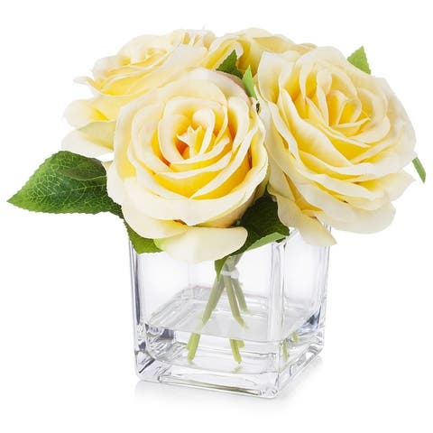 Enova Home 4 Large Heads Velvet Rose Flower in Cube Glass Vase With Faux Water For Home Decoration