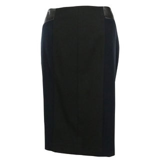 Calvin Klein Women's Faux Leather Inset Pencil Skirt - Navy/Black - 4P