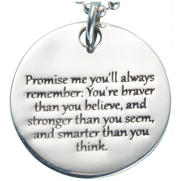 a95cc4b99ec Shop Women s Promise Me Christopher Robin Quote Pendant - Sterling Silver  Engraved Necklace - On Sale - Free Shipping Today - Overstock - 18509758