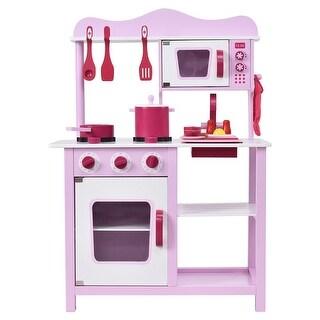 Costway Wooden Kitchen Toy Playset Kids Children Cooking Pretend Play Set  Toddler Gift