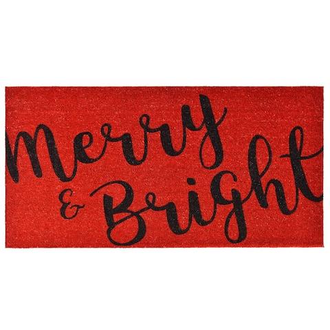 """Merry & Bright Doormat, 30"""" x 48"""" - 30 x 48 in"""