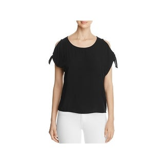 Side Stitch Womens Pullover Top Cold Shoulder Jewel Neck - s