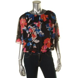 Vince Camuto Womens Petites Casual Top Printed Chiffon