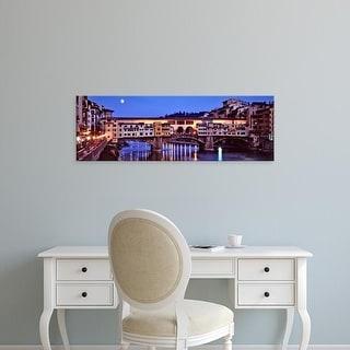 Easy Art Prints Panoramic Image 'Bridge across a river, Arno River, Ponte Vecchio, Florence, Tuscany, Italy' Canvas Art