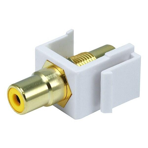 Monoprice Modular RCA Coupler Keystone Jack w/Yellow Center - White
