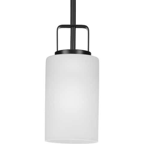 League Collection One-Light Matte Black Farmhouse Mini-Pendant - 5 in x 5 in x 11 in