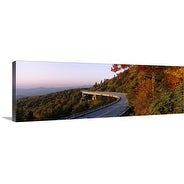 Premium Thick-Wrap Canvas entitled Curved road over mountains, Linn Cove Viaduct, Blue Ridge Parkway, North Carolina
