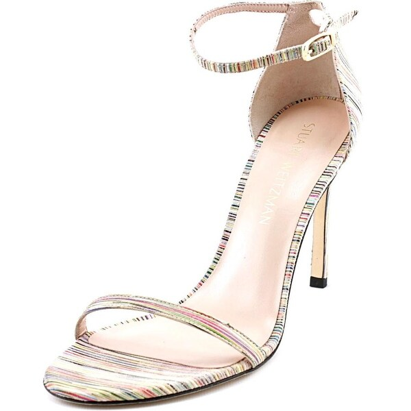 Stuart Weitzman Prismnudist Song Women Open Toe Leather Multi Color Sandals