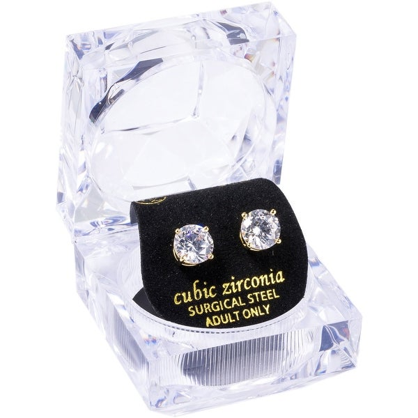 8mm Round White CZ Stud W/Crystal Gift Box Earrings by Simon Frank Designs