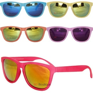 Rubberized Retro Sunglasses Color Mirror Lens