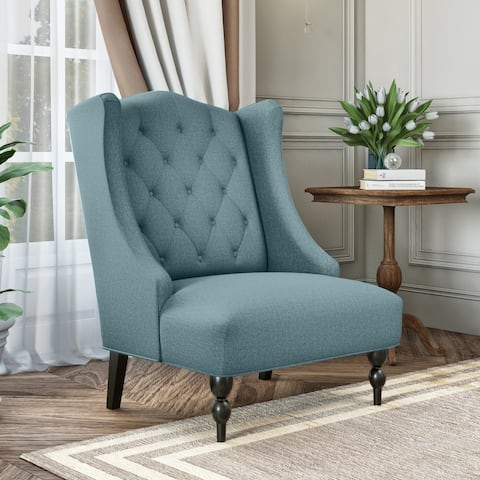 Gracewood Hollow Teluride Button Tufted Wingback Arm Chair