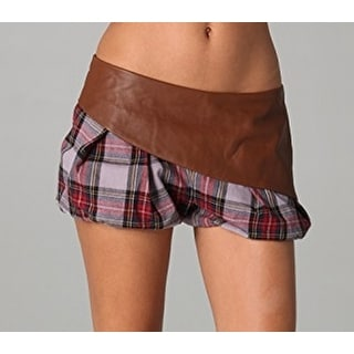 L.A.M.B. NEW Brown Saddle Womens Size 6 Leather Overlay Plaid Shorts