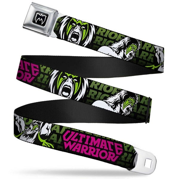 Ultimate Warrior Parts Unknown Mask Full Color Black White Ultimate Warrior Seatbelt Belt