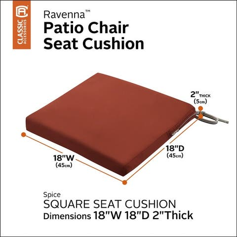 Classic Accessories Ravenna Water-Resistant Patio Chair Seat Cushion, 18 x 18 x 2 Inch