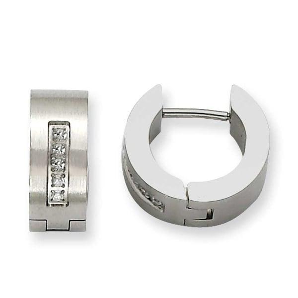 Chisel Stainless Steel CZ Satin Round Hinged Hoop Earrings