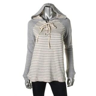 Splendid Womens Micro Modal Blend Striped Hoodie