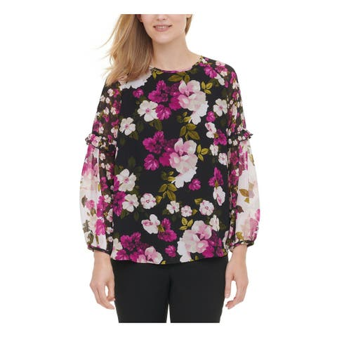 CALVIN KLEIN Womens Black Floral Long Sleeve Blouse Top Size S