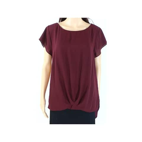 INC Womens Burgundy Short Sleeve Jewel Neck Top Size XS