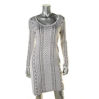 Calvin Klein Womens Long Sleeves Scoop Neck Sweaterdress - M