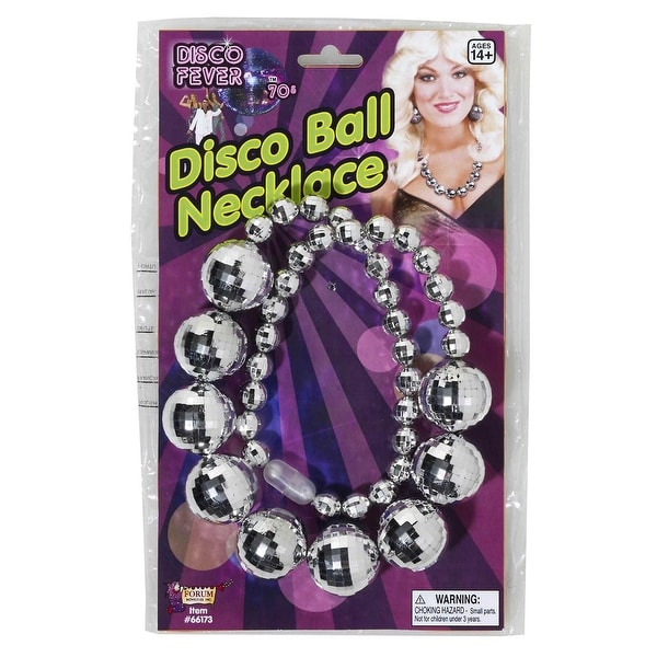 Disco Ball Costume Jewelry Necklace - Silver